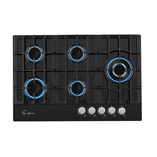 7. Empava 5 Italy Sabaf Burners Gas Stove Cooktop Black Tempered Glass EMPV-30GC5L70A, 30 Inch