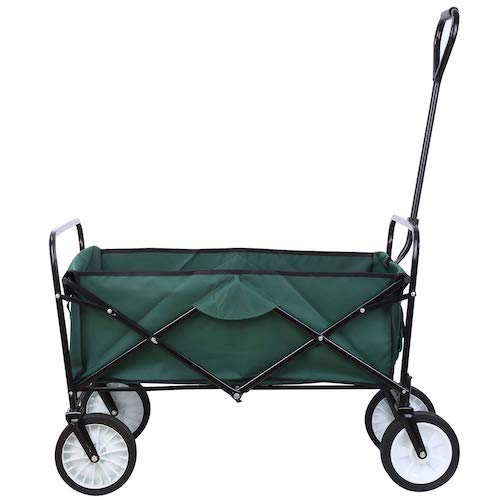 10. Femor Collapsible Folding Outdoor Utility Wagon, Heavy Duty Garden Cart for Shopping Beach Outdoors (Dark Green)