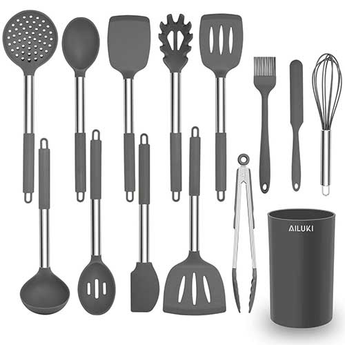Best Silicone Kitchen Utensils 4. Silicone Cooking Utensil Set, AILUKI Kitchen Utensils 14 Pcs Cooking Utensils Set,Non-stick Heat Resistant Silicone, - Grey