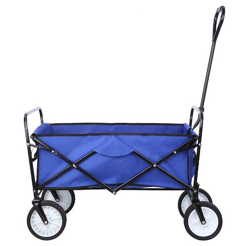 6. Hembor Collapsible Outdoor Utility Wagon, Heavy Duty Folding Garden Portable Hand Cart, with 8