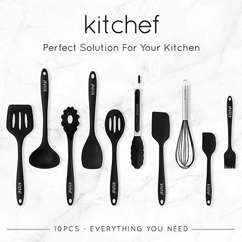 Best Silicone Kitchen Utensils 9. KITCHEF Silicone Kitchen Cooking Utensils Set [10pcs] Heat Resistant, Non Stick & Stain-Resistance, FDA Approved For Safe Cooking