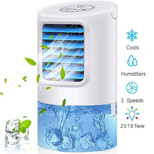 Best Portable Evaporative Air Coolers 1. Arctic Portable Air Cooler Fan, Mini Personal Evaporative Air Cooler Small Desktop Cooling Fan