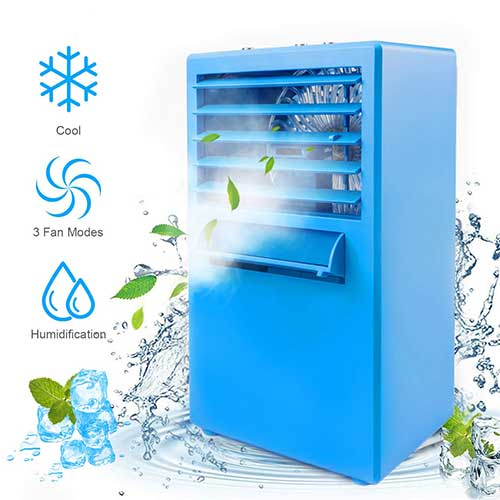 Best Portable Evaporative Air Coolers 6. Air Conditioner Fan, Personal Air Cooler Portable Desktop Fan 3 Speed Mini Misting Evaporative Circulator Humidifier Noiseless Purifier