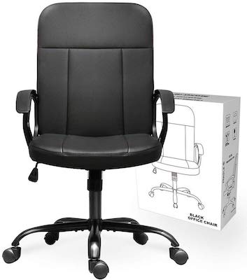 9. Office Chair, Mid Back Leather Desk Chair, Computer Swivel Office Task Chair, Ergonomic Executive Chair