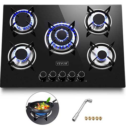 6. Happybuy 30x20 inches Built in Gas Cooktop 5 Burners Gas Stove Cooktop Tempered Glass Cooktop Gas Hob
