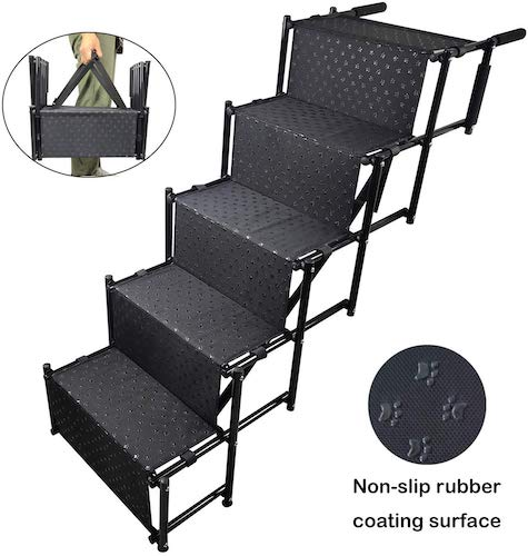 6. YEPHHO 5 Steps Upgraded Folding Pet Stairs Ramp