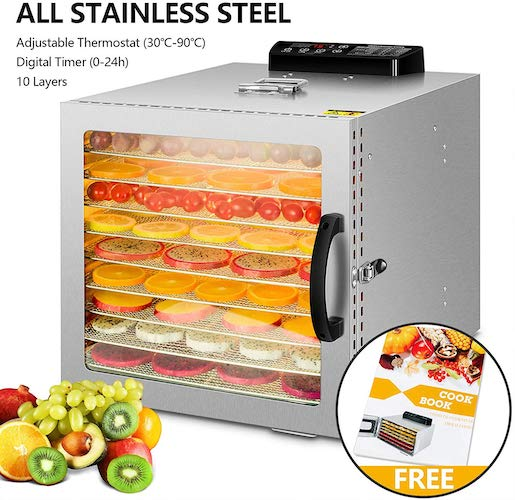6. 10 Commercial Layers Stainless Steel Food Dehydrator