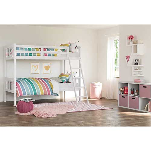 7. Storkcraft Caribou Solid Hardwood Twin Bunk Bed, White