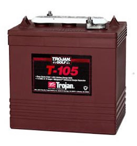 4. Trojan T-105 GC2 6V 225Ah Deep Cycle Flooded Lead Acid Battery