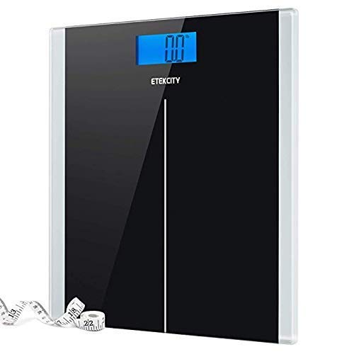 9. Etekcity Digital Body Weight Bathroom Scale with Step-On Technology, 400 Pounds, Body Tape Measure Included, Elegant Black