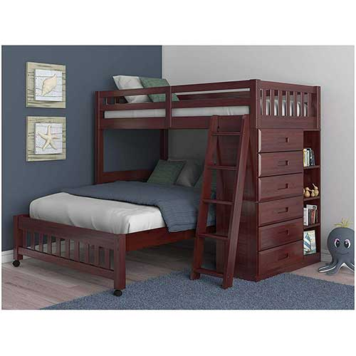 1. Discovery World Furniture Twin Over Full Loft Bed in Merlot Finis