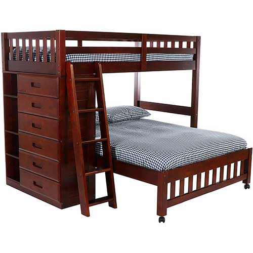 10. Discovery World Furniture Twin over Full Loft Bed, Merlot