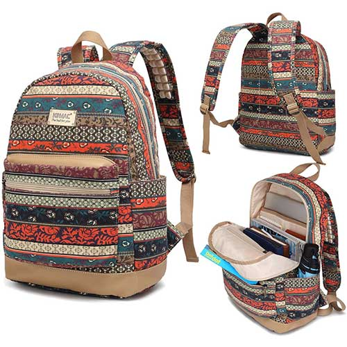 7. Kinmac New Bohemian Waterproof Laptop Backpack