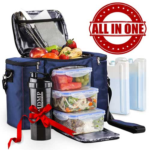 5. Meal Prep Lunch Bag / Box for Men, Women + 3 Large Food Containers (45 Oz.) + 2 Big Reusable Ice Packs + Shoulder Strap + Shaker