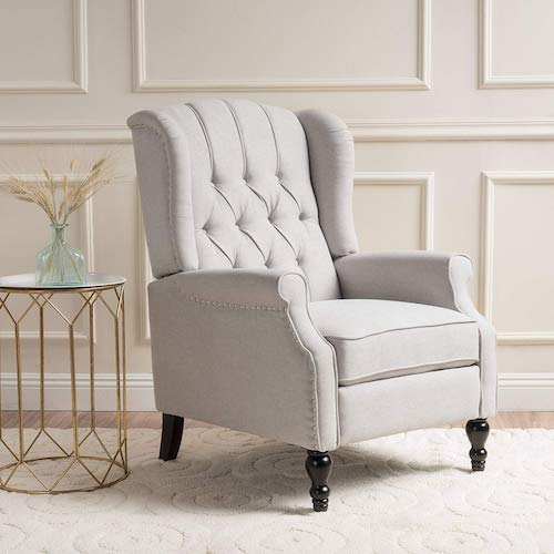 5. Christopher Knight Home Elizabeth Tufted Fabric Arm Chair Recliner, Beige