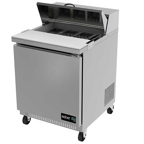 10. One Door 8 Pan Sandwich/Salad Prep Table by Asber