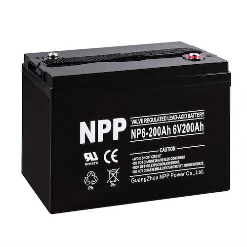 1. NPP NP6-200Ah 6V 200Ah AGM Deep Cycle Camper Golf Cart RV Boat Solar Wind Battery