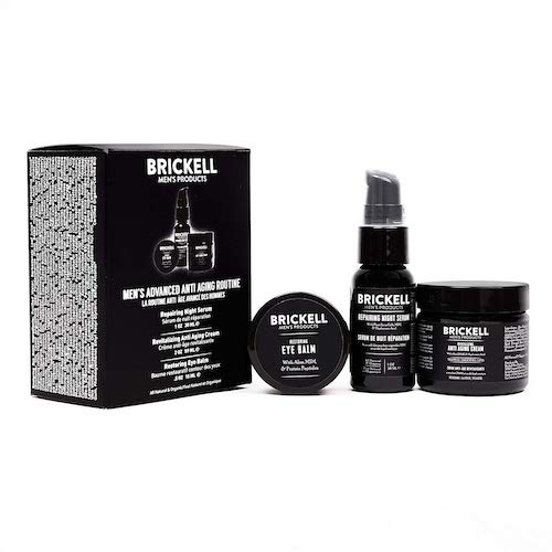 1. Brickell Men's Advanced Anti-Aging Routine, Night Face Cream, Vitamin C Facial Serum and Eye Cream, Natural and Organic, Scented