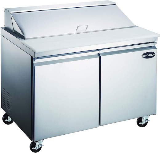 3. Heavy Duty Commercial Sandwich Salad Prep Table Refrigerator Cooler by SABA Restaurant Utopia