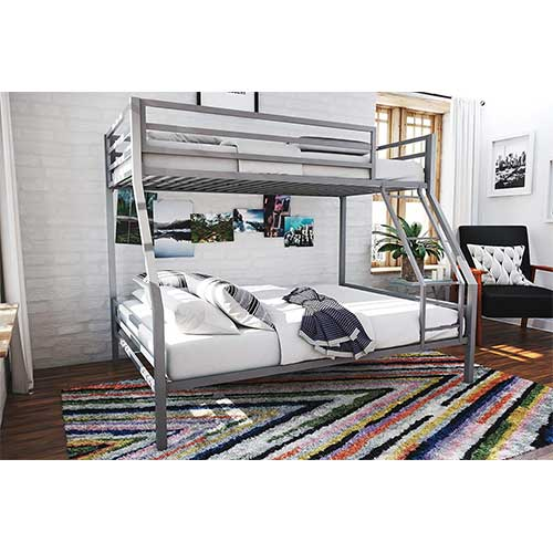 2. Novogratz Maxwell Twin/Full Metal Bunk Bed, Sturdy Metal Frame with Ladder and Safety Rails, Grey