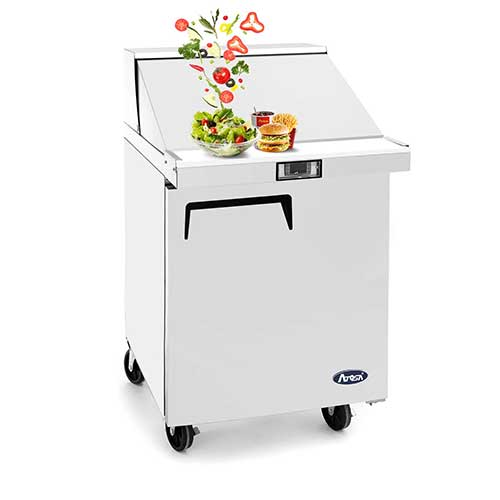 7. Salad Sandwich Prep Table Refrigerator, ATOSA Commercial 1 door Stainless Steel Salad Sandwich Prep Table Refrigerator MSF8301