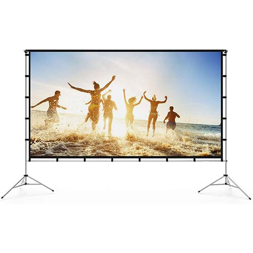 5. Vamvo Outdoor Indoor Projector Screen with Stand Foldable Portable Movie Screen
