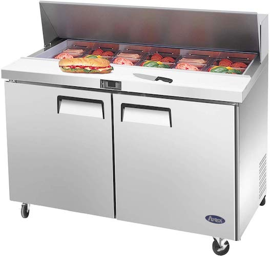 6. ATOSA Medium Commercial Double 2 door Stainless Steel Salad Sandwich Prep Table Refrigerator MSF8302GR for Restaurant Kitchen