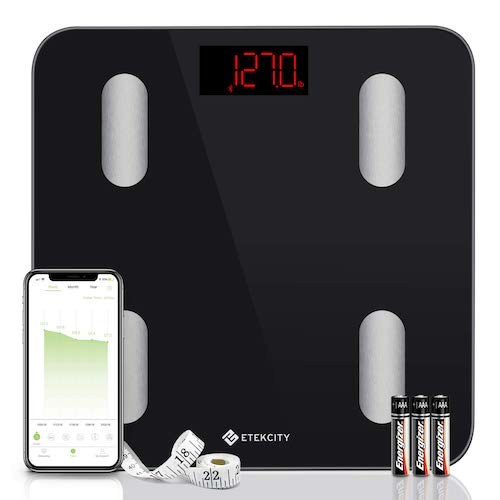 2. Etekcity Scale, Smart Body Fat Scale, Bathroom Bluetooth Digital Weight Scale Tracks 13 Key Compositions Analyzer, 6mm-Thick Glass, Sync with Fitbit, Apple Health and Google Fit, 400 lbs.