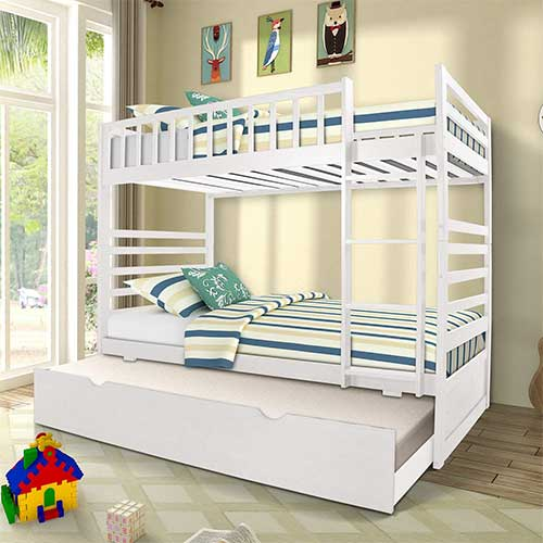 9. Merax Twin Bunk Beds for Kids Twin Over Full Bunk Beds with Ladder and Safety Guardrail with Additional 3rd Bed