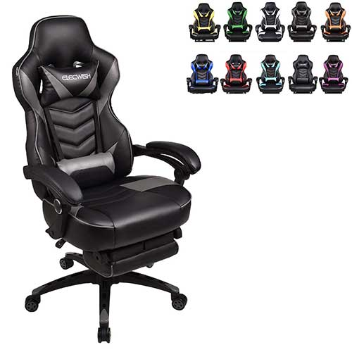 1. Racing Video Gaming Chair High Back Large Size Ergonomic Adjustable Swivel Reclining Executive Computer Chair with Headrest and Lumbar Support PU Leather Executive Office Chair Grey