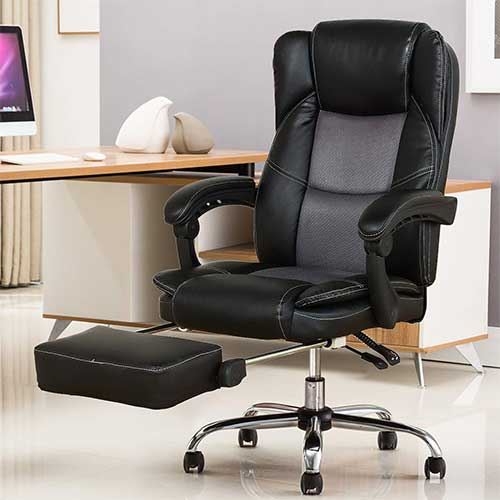 4. YAMASORO Reclining Office Chair - High Back Executive Chair with Adjustable Angle Recline Locking System and Footrest, Comfort and Ergonomic Design for Lumbar Support, Black