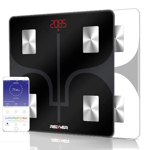 6. REDOVER-Bluetooth Body Fat Scale with Free iOS & Android App, Smart Wireless Digital Bathroom Scale, Body Composition Analyzer for Body Weight, Body Fat, Muscle Mass, BMI, BMR and More, 400lb (Black)