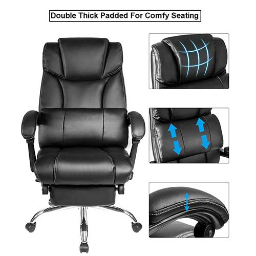 9. Executive Chair Office Big and Tall, JULYFOX Bonded Leather Reclining Game Chair W/Footrest Padded Headrest Lumbar Support Ergonomic High Back Swivel Desk Chair Extra Wide Back Support Black