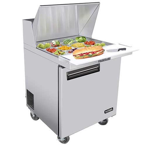 8. 28 Inches Single Door Mega Top Sandwich Prep Table Refrigerator - KITMA 7.9 Cu. Ft Stainless Steel Refrigerated Salad Sandwich Prep Station Table