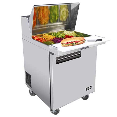 9. KITMA Single Door 28 Inches Sandwich Prep Cooler - 7.15 Cu. Ft Stainless Steel Salad Prep Station Table Refrigerator