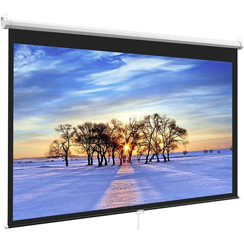 7. Manual Projector Screen Pull Down for Indoor Outdoor Home Theater Office Movies by PERLESMITH