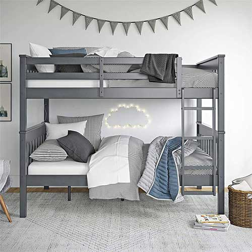 8. Dorel Living Moon Full Over Full Bunk Bed with USB Port, Gray