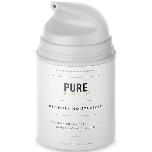 6. Pure Biology Premium Retinol Cream Face Moisturizer with Hyaluronic Acid, Vitamins B + C & Anti-Aging Wrinkle Complexes for Men & Women, 1.7 oz
