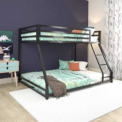 3. DHP Miles Metal Bunk Bed, Black, Twin/Full