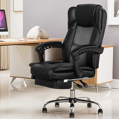 6. B2C2B Ergonomic Reclining Office Chair High Back Napping Desk Chair Computer Chair Leather Chair with Footrest Large Seat and Lumbar Support 300lbs Black