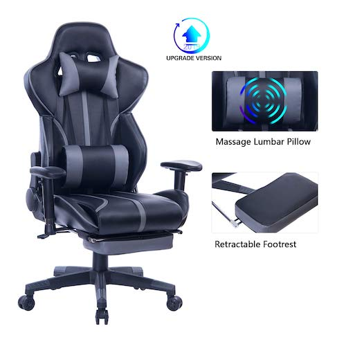 1. Blue Whale Gaming Chair with Adjustable Massage Lumbar Pillow, Retractable Footrest and Headrest