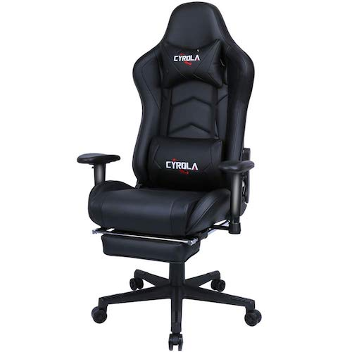 6. Cyrola Large Gaming Chair with Footrest High Back Adjustable Armrest Heavy Duty Computer Racing Gaming Chair