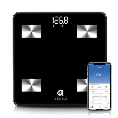 10. Arboleaf Weight Scale - Smart Scale Bluetooth Body Fat Scale Wireless with iOS, Android APP, Unlimited Users, Auto Recognition, 10 Body Composition Analyzer, Fat, BMI, BMR, Muscle Mass, 396 lbs. - Black