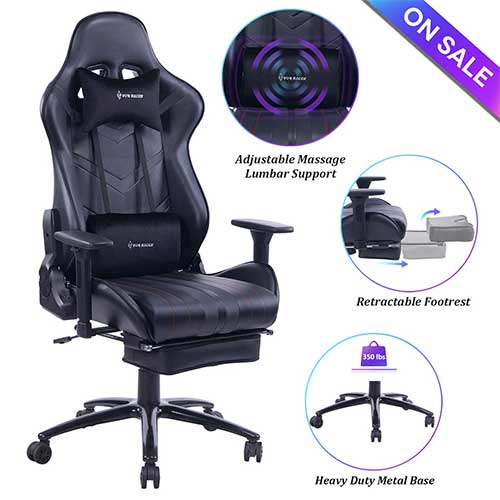 8. VON RACER Massage Gaming Chair Racing Office Chair - Adjustable Massage Lumbar Cushion, Retractable Footrest and Arms High Back Ergonomic Leather Computer Desk Chair (Black)