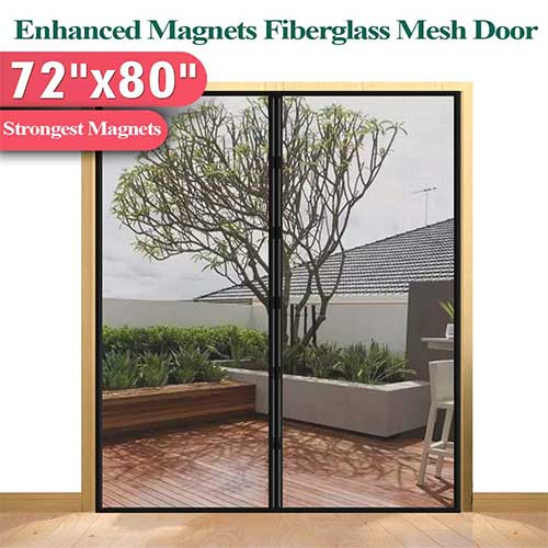 6. [Upgrade Version] Fiberglass Mesh Magnetic Screen Door Curtain, Mkicesky Double Patio Mesh Cover for French/Sliding Door