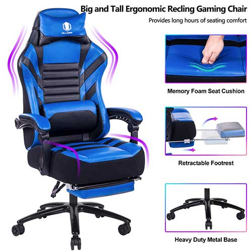 10. VON RACER Big & Tall 400lb Memory Foam Reclining Gaming Chair Metal Base - Adjustable Back Angle and Retractable Footrest Ergonomic High-Back Leather Racing Executive Computer Desk Office Chair, Blue