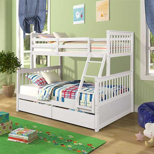 6. Wood Bunkbeds, Twin Over Full Bunk Bed with 2 Storage Drawers, Sturdy Wooden Bunk Frame, Twin Cot with Ladder and Safety Rails Convenience to Take Care of Your Children (White)