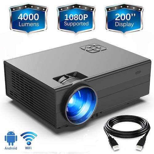 8. HD 4000 Lux WI-Fi Projector, GIMISONIC Video Projector