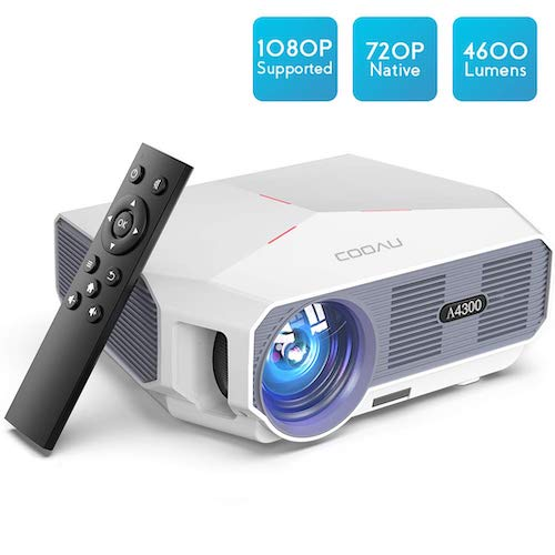 3. Projector, COOAU Movie Projector 4600LM with 200
