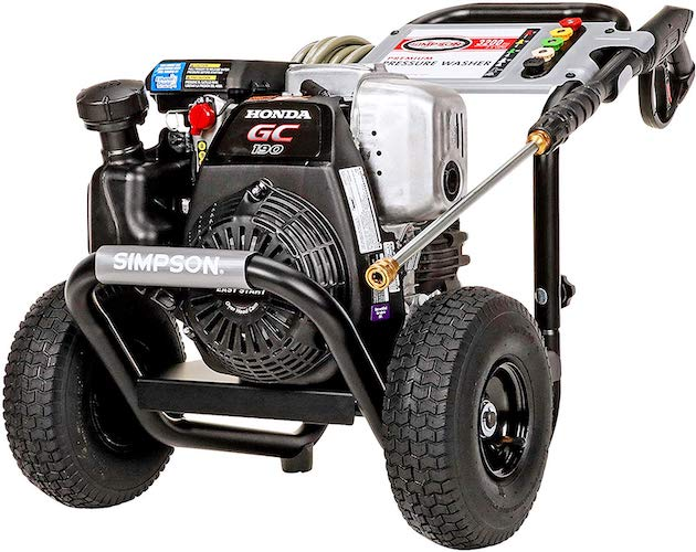 4. Simpson MSH3125 MegaShot Gas Pressure Washer Powered by Honda GC190, 3200 PSI at 2.5 GPM
